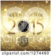 Clipart Of A 3d Gold 2015 Happy New Year Greeting With A Clock Over Gold Snowflakes Stars And Flares Royalty Free Vector Illustration