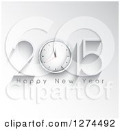 Clipart Of A 3d White 2015 Happy New Year Greeting With A Clock Over White With Shadows Royalty Free Vector Illustration
