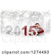 3d Santa Pushing 2015 New Year Over Silver Bokeh And Snowflakes