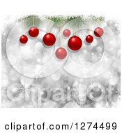 Clipart Of A Background Of 3d Red Christmas Baubles Suspended From Branches Over Silver Bokeh And Snowflakes Royalty Free Illustration
