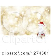 Clipart Of A 3d White Man Wearing A Santa Hat And Christmas Shopping Over A Gold Bokeh And Snowflake Background Royalty Free Illustration