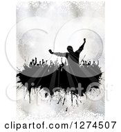 Clipart Of A Silhouetted Crowd Of People Dancing Over Silver Bokeh And Snowflakes Royalty Free Vector Illustration