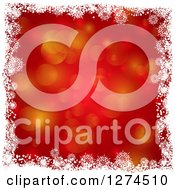 Clipart Of A Red Bokeh Flare Christmas Background Bordered With White Snowflakes Royalty Free Vector Illustration