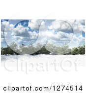 Clipart Of A 3d Grove Of Evergreen Trees In A Snowy Landscape On A Sunny Day With Clouds And Flares Royalty Free Illustration