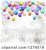 Clipart Of A Background Of 3d Colorful Party Balloons With Snowflakes And Flares Royalty Free Vector Illustration
