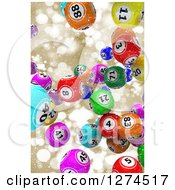 Clipart Of 3d Colorful Bingo Balls Falling Over Gold Snowflakes And Bokeh Royalty Free Illustration by KJ Pargeter