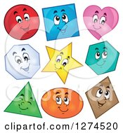Clipart Of Colorful Happy Shapes Royalty Free Vector Illustration