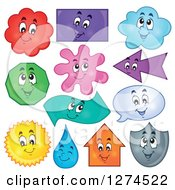 Clipart Of Happy Colorful Shape Characters Royalty Free Vector Illustration by visekart