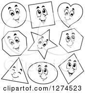 Clipart Of Black And White Happy Shapes Royalty Free Vector Illustration by visekart