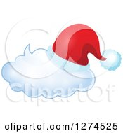 Clipart Of A Christmas Santa Hat On A Speech Bubble 4 Royalty Free Vector Illustration