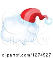 Clipart Of A Christmas Santa Hat On A Speech Bubble 5 Royalty Free Vector Illustration