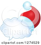 Clipart Of A Christmas Santa Hat On A Speech Bubble 7 Royalty Free Vector Illustration