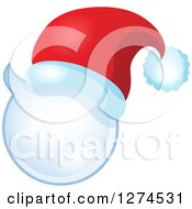 Clipart Of A Christmas Santa Hat On A Speech Bubble Royalty Free Vector Illustration