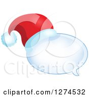 Clipart Of A Christmas Santa Hat On A Speech Bubble 2 Royalty Free Vector Illustration