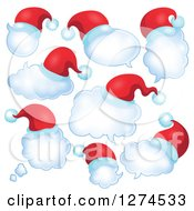 Clipart Of Christmas Santa Hats On Thought And Speech Bubbles Royalty Free Vector Illustration