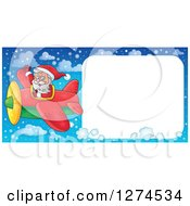 Clipart Of A Christmas Santa Claus Flying A Plane And Waving With A Large Sign Royalty Free Vector Illustration