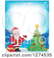 Clipart Of Santa Claus Holding A Sack And Waving By A Christmas Tree In The Snow Royalty Free Vector Illustration