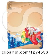 Clipart Of A Christmas Santa Claus Flying A Plane And Waving Over A Parchment Scroll Royalty Free Vector Illustration