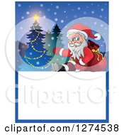 Clipart Of Santa Claus Sitting And Leaning On A Sack By A Christmas Tree Over Text Royalty Free Vector Illustration