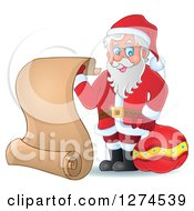 Clipart Of A Christmas Santa Claus Holding A Sack And Scroll List Royalty Free Vector Illustration