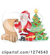 Clipart Of Santa Claus Holding A Sack And Scroll List By A Christmas Tree Royalty Free Vector Illustration