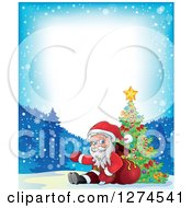 Clipart Of Santa Claus Sitting Against A Sack And Presenting By A Christmas Tree In The Snow With Text Space Royalty Free Vector Illustration