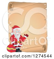 Clipart Of A Christmas Santa Claus Holding A Sack And Waving Over A Parchment Scroll Royalty Free Vector Illustration