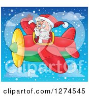 Clipart Of A Christmas Santa Claus Flying A Plane And Waving In A Snowy Sky Royalty Free Vector Illustration