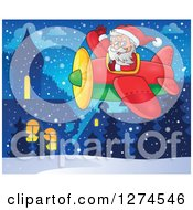 Clipart Of A Christmas Santa Claus Flying A Plane And Waving In A Snowy Village Royalty Free Vector Illustration