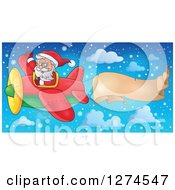 Clipart Of A Christmas Santa Claus Flying A Plane And Waving With A Trailing Parchment Banner Royalty Free Vector Illustration