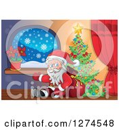 Clipart Of Santa Claus Sitting Against A Sack And Presenting By A Christmas Tree Indoors Royalty Free Vector Illustration