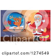 Clipart Of A Christmas Santa Claus Holding A Sack And Waving By A Window With A Reindeer Royalty Free Vector Illustration