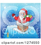 Clipart Of A Christmas Santa Claus Holding A Sack And Waving In A Chimney Royalty Free Vector Illustration