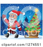 Clipart Of Santa Claus Waving And Pulling A Christmas Tree In A Sleigh On A Winter Night Royalty Free Vector Illustration
