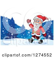 Clipart Of A Christmas Santa Claus Walking And Waving In The Snow Royalty Free Vector Illustration