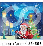 Clipart Of Santa Claus Sitting Against A Sack And Presenting By A Christmas Tree In A Village Royalty Free Vector Illustration