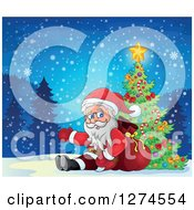 Clipart Of Santa Claus Sitting Against A Sack And Presenting By A Christmas Tree On A Snowy Night Royalty Free Vector Illustration