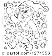 Clipart Of A Black And White Christmas Santa Claus Walking And Waving In The Snow Royalty Free Vector Illustration