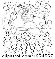 Clipart Of A Black And White Christmas Santa Claus Flying A Plane In The Snow Royalty Free Vector Illustration