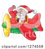 Clipart Of A Christmas Santa Claus Flying A Plane And Waving Royalty Free Vector Illustration by visekart