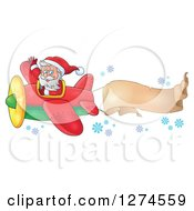 Clipart Of A Christmas Santa Claus Flying A Plane And Waving With A Trailing Banner Royalty Free Vector Illustration by visekart