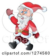 Clipart Of A Christmas Santa Claus Walking And Waving Royalty Free Vector Illustration by visekart