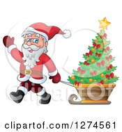 Clipart Of Santa Claus Waving And Pulling A Christmas Tree In A Sleigh Royalty Free Vector Illustration