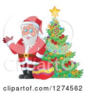 Clipart Of Santa Claus Holding A Sack And Waving By A Christmas Tree Royalty Free Vector Illustration by visekart
