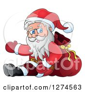 Clipart Of A Christmas Santa Claus Sitting Against A Sack And Presenting Royalty Free Vector Illustration