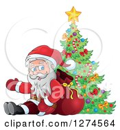 Clipart Of Santa Claus Sitting Against A Sack And Presenting By A Christmas Tree Royalty Free Vector Illustration