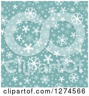 Clipart Of A Seamless Green And White Winter Christmas Snowflake Background Royalty Free Vector Illustration