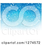 Clipart Of A Gradient Blue Snow Background Royalty Free Vector Illustration