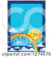 Happy Sun Peeking Behind A Sparkly Rainbow In A Blue Sky Border