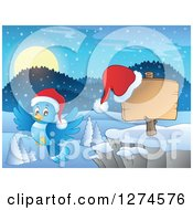 Clipart Of A Christmas Blue Bird Flying By A Wood Sign With A Santa Hat And Winter Landscape At Night Royalty Free Vector Illustration